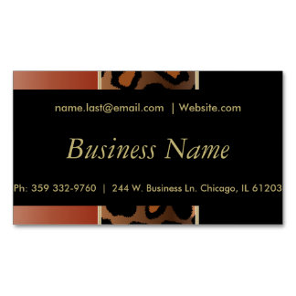 Elegant Black, Gold & Burnt Orange Leopard Stripes Magnetic Business Cards