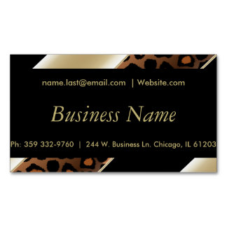 Elegant Black, Gold & Champagne Leopard Stripes Magnetic Business Cards