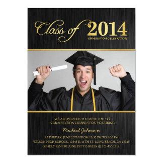 Elegant Black & Gold Class of 2014 Graduation 14 Cm X 19 Cm Invitation Card