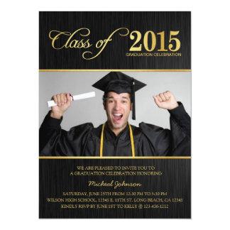 Elegant Black & Gold Class of 2015 Graduation 14 Cm X 19 Cm Invitation Card