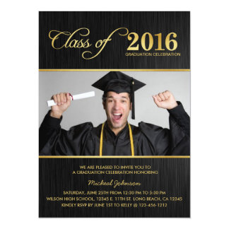 Elegant Black & Gold Class of 2016 Graduation 14 Cm X 19 Cm Invitation Card