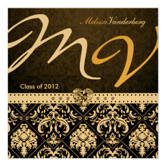 Elegant Black Gold Damask Class of 2012 Invites