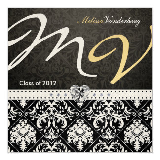Elegant Black / Gold Damask Class of 2012 Invites