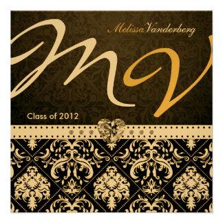 Elegant Black / Gold Damask Class of 2012 Invites