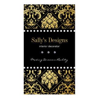 Elegant Black & Gold Damask Interior Designer Business Card Template