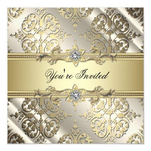 Elegant Black Gold Damask Party 13 Cm X 13 Cm Square Invitation Card