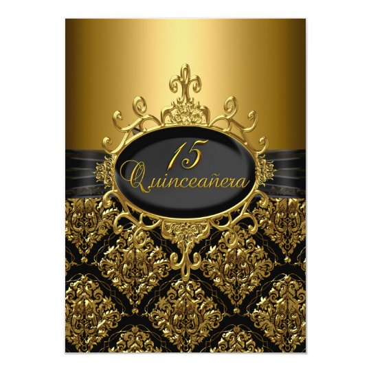 Elegant Black & Gold Damask Quinceanera Invite