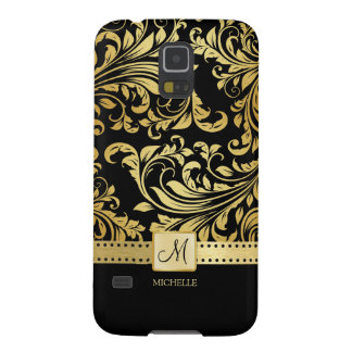 Elegant Black & Gold Damask with Monogram Galaxy S5 Covers