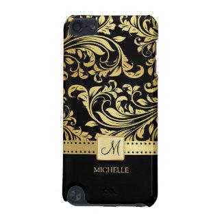 Elegant Black & Gold Damask with Monogram iPod Touch 5G Case