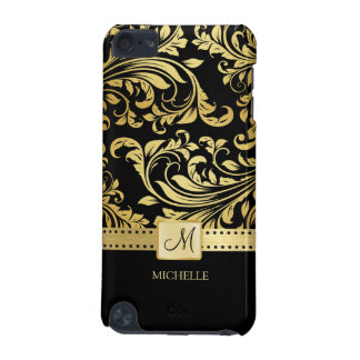Elegant Black & Gold Damask with Monogram iPod Touch (5th Generation) Cover