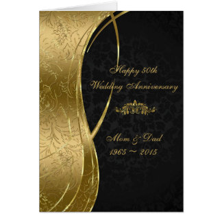 Elegant Black & Gold Damasks Card