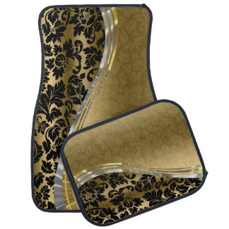 Elegant Black & Gold Damasks With Silver Accents Car Mat