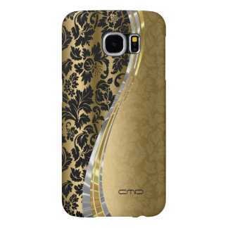 Elegant Black & Gold Damasks With Silver Accents Samsung Galaxy S6 Cases