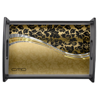 Elegant Black & Gold Damasks With Silver Accents Serving Tray