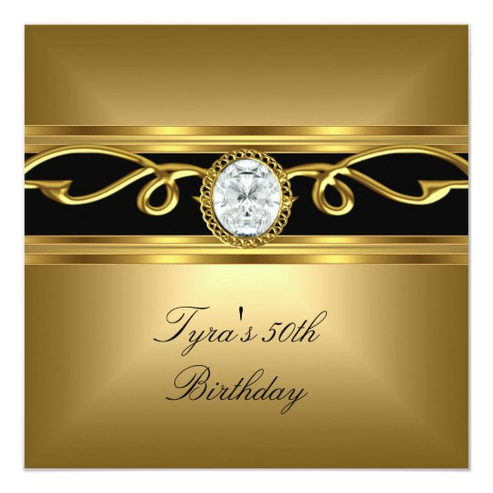 Elegant black gold diamond jewel 50th birthday invitation zazzle elegant black gold diamond jewel 50th birthday invitation filmwisefo