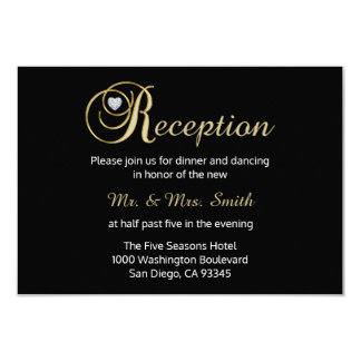 Elegant Black Gold Diamond Wedding RECEPTION Card