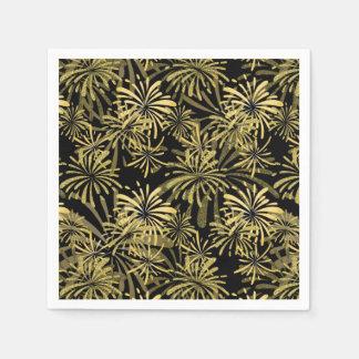 Elegant black gold fireworks pattern party napkins paper napkin