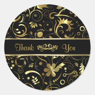 Elegant Black & Gold Foil Look Floral Damasks Round Stickers