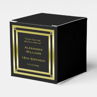 Elegant Black & Gold Framed 18th Birthday Party Favour Boxes