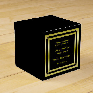Elegant Black & Gold Framed 50th Birthday Favour Box