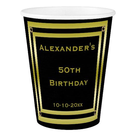 Elegant Black & Gold Framed Man's 50th Birthday
