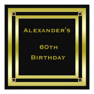Elegant Black & Gold Framed Man's 60th Birthday Card