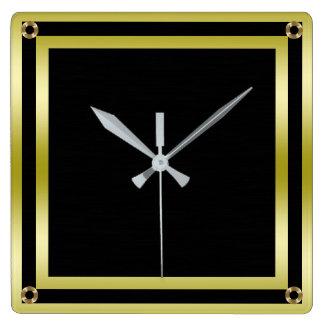 Elegant Black & Gold Framed Square Wall Clock