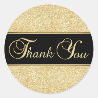 Elegant Black Gold Glitter Thank You Classic Round Sticker