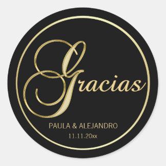 Elegant Black Gold GRACIAS Wedding Envelope Round Sticker