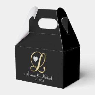 Elegant Black Gold Heart Monogram L Wedding Gift Favour Box