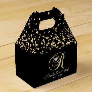 Elegant Black Gold Heart Monogram R Wedding Gift Favour Box