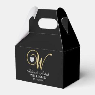 Elegant Black Gold Heart Monogram 'W' Wedding Gift Favour Box