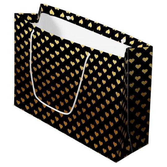 elegant black gold hearts party bag
