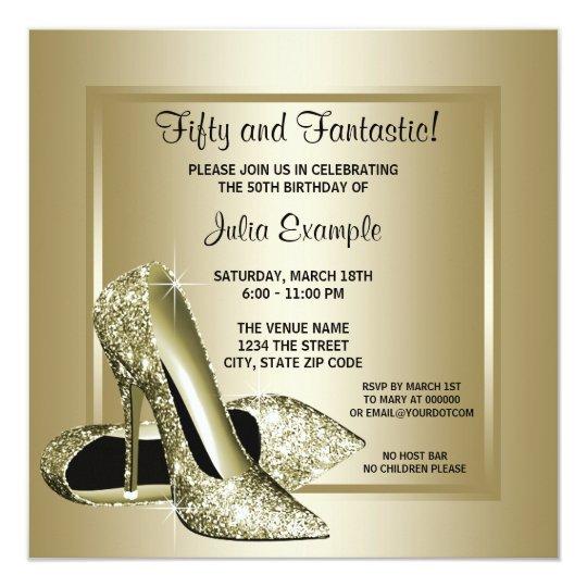 Elegant Black Gold High Heel Birthday Party Card