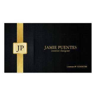 Elegant Black Gold Interior Design Business Card