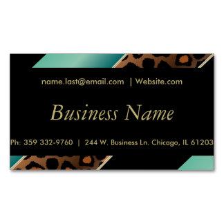 Elegant Black, Gold & Jade Leopard Stripes Magnetic Business Cards
