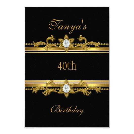 Elegant Black Gold Jewel 40th Birthday Card