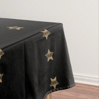 Elegant Black Gold Look Stars Pattern Chic Tablecloth