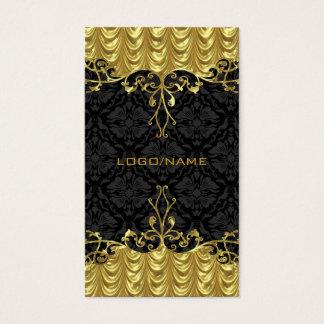 Elegant Black & Gold Look Vintage Gold Lace Frame Business Card