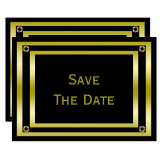Elegant Black & Gold  Man's 70th Save The Date Card