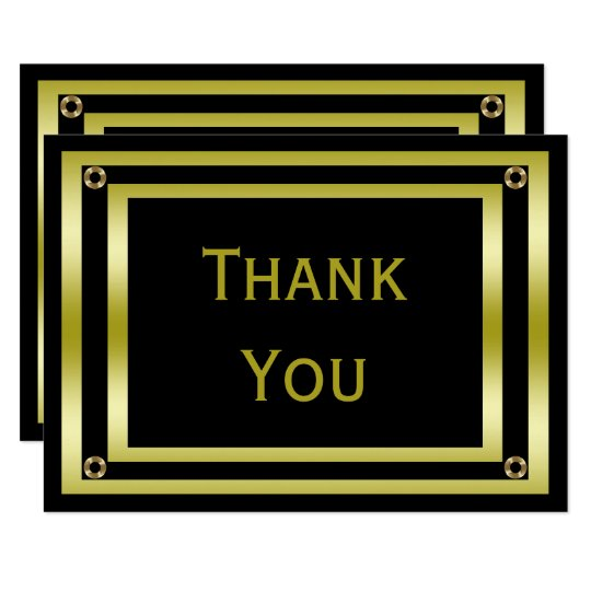 Elegant Black & Gold Man's Thank You Card