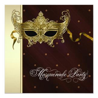 Elegant Black Gold Masquerade Party Invitations