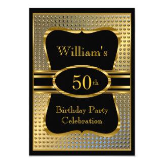 Elegant Black Gold Mens Birthday Party Invitation