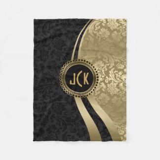 Elegant Black & Gold Metallic Floral Damasks Fleece Blanket
