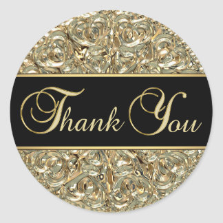 Elegant Black Gold Metallic Glass Thank You Round Sticker