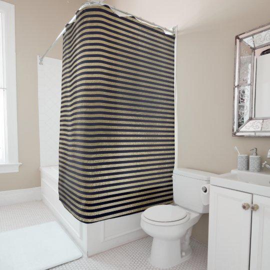Elegant Black Gold Minimal Stripes Lines VIP Shower Curtain