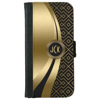 Elegant Black & Gold Modern Geometric Pattern iPhone 6 Wallet Case