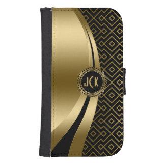 Elegant Black & Gold Modern Geometric Pattern Samsung S4 Wallet Case