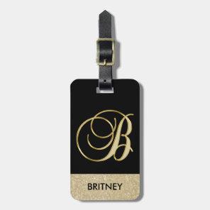 Elegant Black Gold Monogram Letter B with Name Luggage Tag