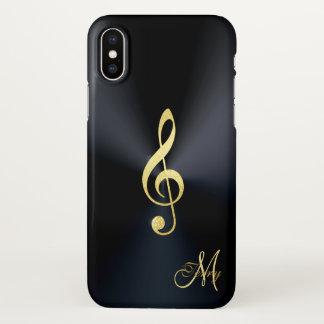 Elegant Black Gold Music Clef iPhone X Case